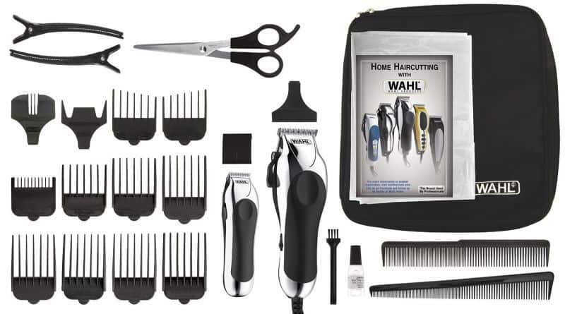 The Wahl Deluxe haircutting kit in its ful glory: 25 pieces to help you shape that Wahl haircut.