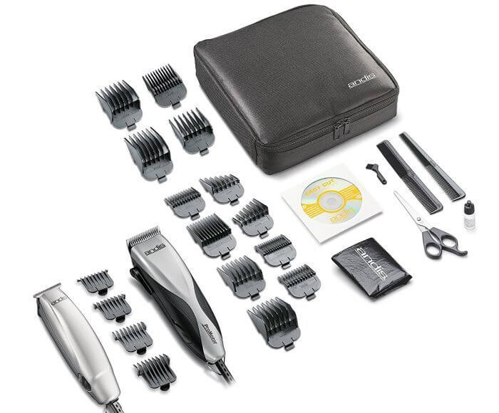Andis Promotor combo kit features 27 tools for men's grooming needs.